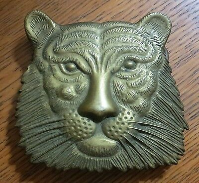 Vintage Solid Brass Lion Face 1978 Baron Buckle - RARE - Made in Taiwan