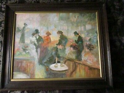 Super French Impressionist Style Oil Painting Signed DECON Oak Framed