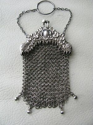 Antique Art Nouveau 4 Ball Chatelaine Whiting & Davis STERLING SILVER Coin Purse