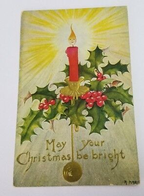 Christmas Embossed Postcard Artist Signed Hall Unposted 1907-15 Smiling Flame