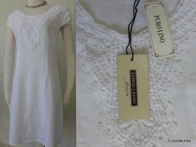 63a9b7cc47 LUNGO L ARNO SABBIA Taupe Linen Crochet Shift Dress Made In Italy Sz ...