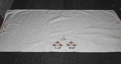 Ant/Vtg Embroidered Butterfly & Floral Table Runner/Topper~42 X 17""