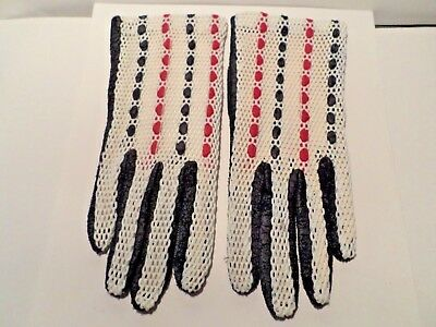 Vintage Pair Of Ladies Gloves  Black, White & Red