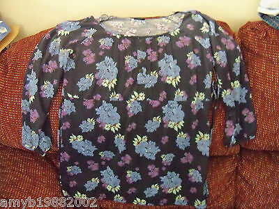 Faded Glory Navy Blue Empire Seam Peasant Top Size M Women's NEW LAST ONE