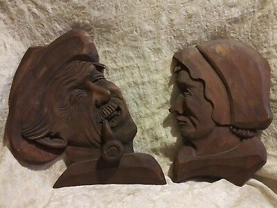 Pair of Vintage Carved Wood Wall Hanging Faces Folk Art