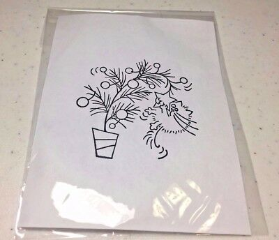 Stampendous FLUFFLES TREE rubber stamp Cat Christmas tree star winter RARE