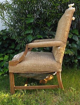 Antique Chair High Back Woven Fauteuil Armchair Carved California Barn Find