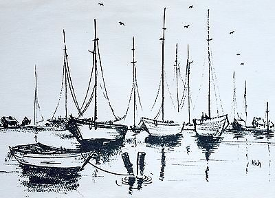 Original Signed Vintage Nautical Seascape Art Print By Artist Klein
