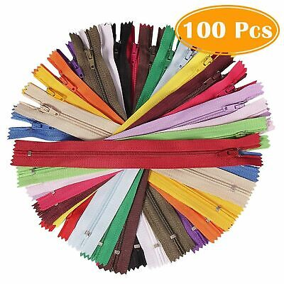 100pcs Nylon Coil Zippers Tailor Sewer Craft Wholesale Colorful 9 Inch Crafter's