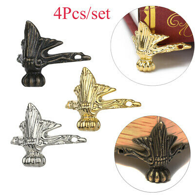 4Pcs/lot Jewelry Box Wooden Case Decorative Feet Leg Metal Corner Protector
