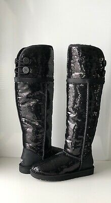 1651b4922a1 NEW NIB UGG Bailey Sparkles Black Sequined Over-The-Knee Shearling ...