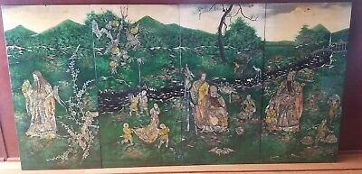 Vintage Set 4 Oriental Black Lacquer Wood Panels Wall Hanging W/ Mother of Pearl