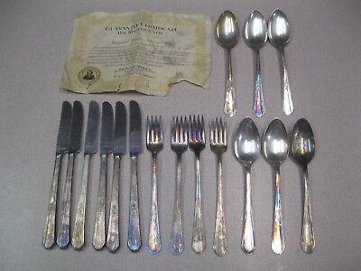 16 Vintage Wm Rogers & Son PARIS SP Grill FORKS Knives Tablespoons Certificate