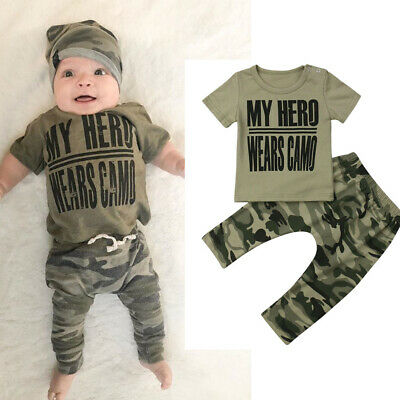 Toddler Newborn Kid Baby Boy Casual Camo Set Cotton T-shirt +Long Pant Outfit