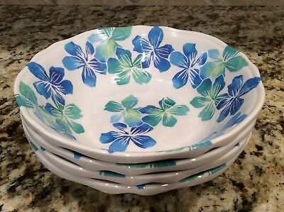 Tommy Bahama Melamine Hibiscus Bowls Set (4) Green Blue Flowers Hawaiian Lei