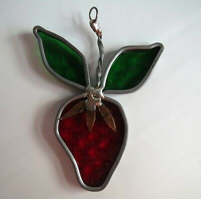 """Vintage Suncatcher """"Stained Glass"""" Leaded Red Strawberry w/ Copper Detail Leaves"""