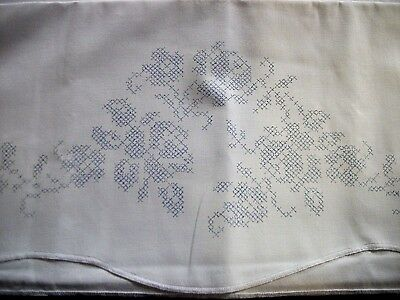 """Stamped Xstitch 2 Pillowcases & a Matching Dresser Scarf """"ROSES & IVY"""""""