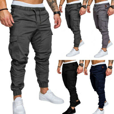 Mens Joggers Pants Hip Hop Elastic Casual Sports Slim Fit Stretch Trousers fas