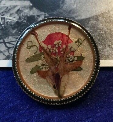 Vintage Art Deco Pressed Flower Silver Metal Brooch Pin #2