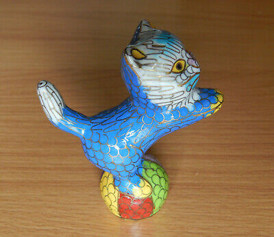 """Rare 1970s Cloisonne """"Blue Kiten on the Ball"""" - Chinese Handmade Collectible"""