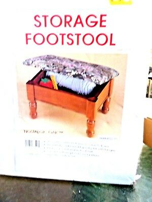 Storage Ottoman Small Wooden FootStool Vintage Antique Style Tapestry Furniture