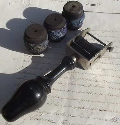 Antique French Embroidery Kit Gothic Printing roller and stamps