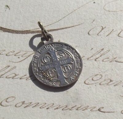 Vintage French Pendant Medal St Benedict Medal of protection