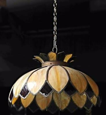 Art Glass Deco Dome Fixture Chandelier Lamp Hanging Light Sconce Vintage Antique