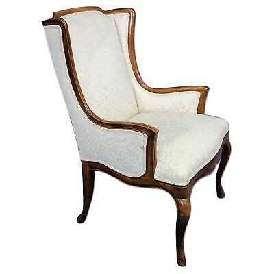 French Provincial Upholstered Armchair Chair Louis XV Style Bergere Fauteuil