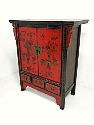 Exquisite Antique Red Lacquer Chinese Cabinet Chest Armoire Altar Table Vintage