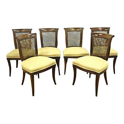 Fine Set Six 6 Regency Style Mahogany Dining Chairs Side Accent Vintage Antique