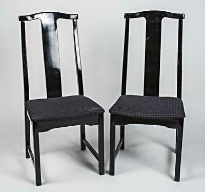 Pair 2 Asian Style Black Ebonized Side Chairs Armchairs Dining Chinese Vintage