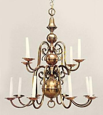 12-Arm Antique Dutch Baroque Style Copper Brass Chandelier Fixture Lamp Lighting