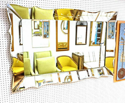 """58""""W Beveled Etched Frame Wall Mirror Home Decor Mid Century Modern Art Deco"""