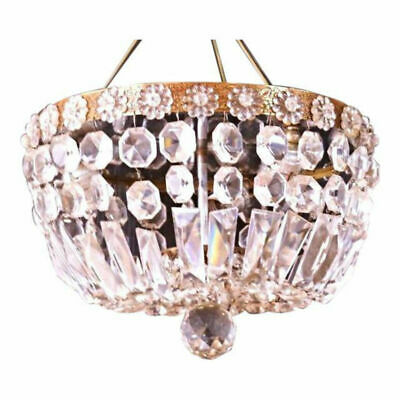 "12"" Dome Form Brass Crystal Chandelier Ceiling Light Fixture Lamp Shade Modern"