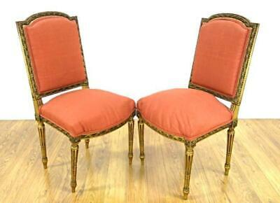 Pair 2 Louis XV Style Gilt Carved Side Chairs Armchairs Sofa Antique Vintage