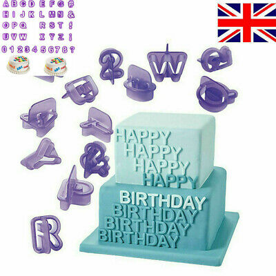 40pcs Alphabet Mold Letter Fondant Mold Icing Cookie Cutter Number Cake Mould UK