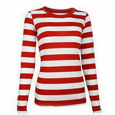 Ladies Girls Red and white Striped Full Sleeve Shirt Fancy Dress Book Week Top
