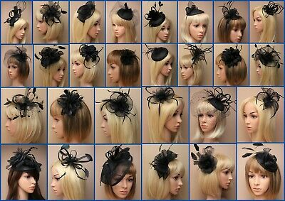 Black Fascinator, Hatinator, Wedding, Prom, Clip Comb Band Flower, Feather, Lot