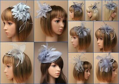 Silver Grey Fascinator Hatinator Wedding Prom Clip Comb Band, Feather, Lot