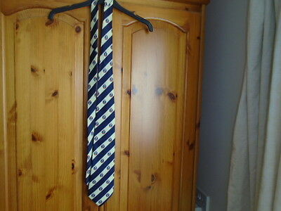 Mens blue and cream stripe silk tie with shield, designer RENE CHAGAL, vintage