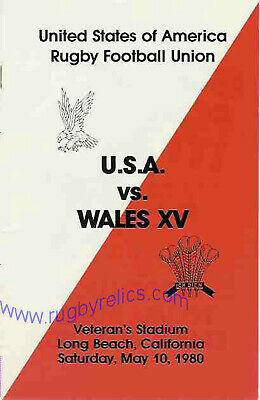 USA v WALES 10 May 1980 at Long Beach RUGBY PROGRAMME - United States of America