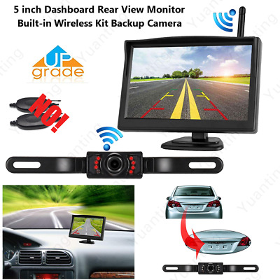 """5"""" Built-in Wireless Car Rear View Backup Monitor Parking License Plate Camera"""