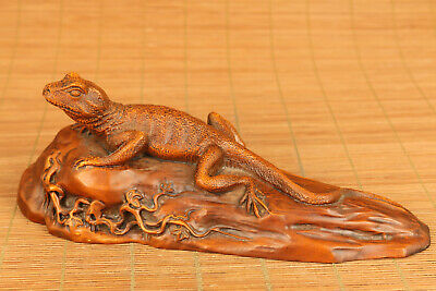 Rare chinese Old boxwood hand carved lizard statue figure collectable