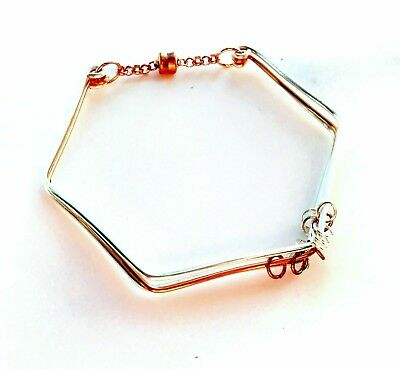 Hexagonal Triple Strand Bangle Base with Magnetic Closure Copper Silver