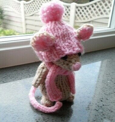 """Extremely Cute BESPOKE, Hand knitted country MOUSE called """"MiSSY"""""""