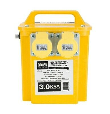 Defender E203010 Portable Tool Transformer 3KVA 2x 16A 230V IP44