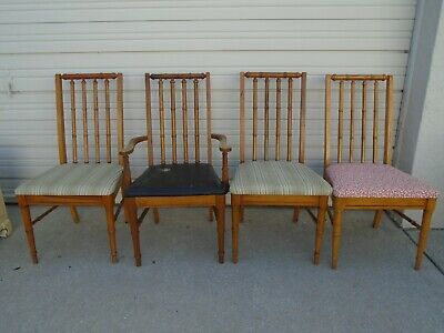 4 Faux Bamboo Chairs Dining Broyhill Hollywood Regency Spindles Set Four