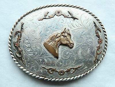 Vintage Large Cowboy Cowgirl Horse Head Hand Engraved Western Belt Buckle