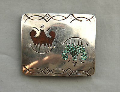 Vtg Sterling Silver Turquoise Coral Inlay Native American Western Belt Buckle